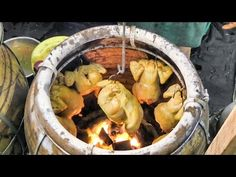 Chickens Roasted in Charcoal Oven. Street Food of Bangkok, Thailand - YouTube