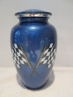 210 Blue Racing Flag Adult Cremation Urn *** Read more at the image link. (This is an affiliate link) #DecorativeAccessories