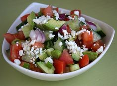 Avocado- cucumber tomato salad