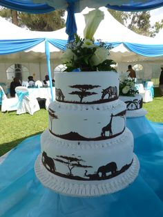Safari wedding cake (without flowers on top)