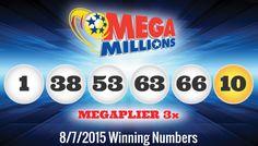 Resultados Loteria MegaMillions viernes 7/8/2015. Ver lista ganadores http://wwwelcafedeoscar.blogspot.com/2015/08/lottery-result-mega-millions.html