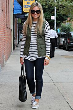 Black & White Striped Tee, Army Green Vest, Levi's Jeans, Leopard Print Sneakers