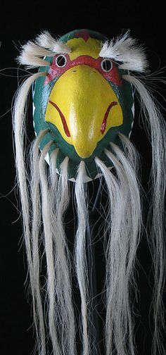 Parrot Pascola Mask, yaqui people, Sonora - in the USA it is hard to imagine the current use of these dance masks but the dances are real & meaningful /