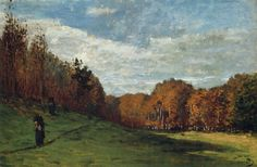 Claude Monet woodgatherers at the edge of the forest 1863 approx