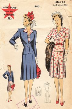 1940s Two-Piece Suit for Misses and Women - Vintage Hollywood Sewing Pattern 880 - Size 38 Bust