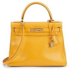 HERMES Yellow Curchevel Kelly 28cm ($13,500) ❤ liked on Polyvore featuring bags, handbags, yellow, handbags totes, leather purses, tote handbags, man bag and handbag purse