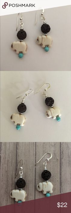 Bohemian Aromatherapy Yoga Earrings Lava Stone Essential Oil Diffuser Earrings  These Cute Artisan made Earrings feature Turquoise Howlite Gemstone Elephants and Beads with Brown Lava Stone Beads.  Sterling Silver Earwires with Bead detail. Can be used with essential Oils( put drop of oil on Lava Stone) rubber safety backs and Sample Essential Oil included✨ DesignsByKaren Jewelry Earrings