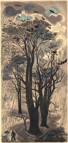 Rooks and rain. Gertrude Hermes, 1950 (via British Museum)