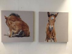 Two little foal paintings keeping each other company in the studio #foalfriends by Tony O'Connor whitetreestudio.ie