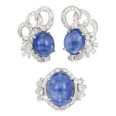 Platinum, Cabochon Sapphire And Diamond Ring and Ear Clips    c. 1950   -   Doyle New York