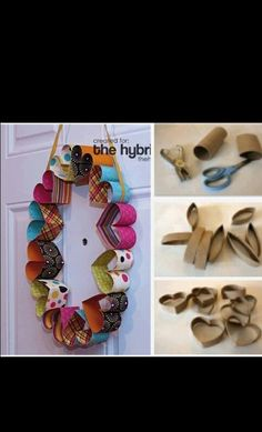 DIY Easy projects for kids part 2 heart wreath Toilet Paper Roll Art, Rolled Paper Art, Toilet Paper Roll Crafts, Tissue Roll Crafts, Projects For Kids, Diy For Kids, Craft Projects, Crafts For Kids, Craft Kids
