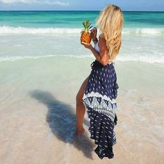 Tropical salty vibes from where you'd rather be with @theblondeabroad in the Ayana Wrap Maxi Skirt🍍 ...