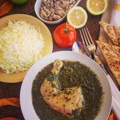 Млюхия, курица в зеленом соусе/разновидность шпината/, с чесноком и лимоном, гарнир-рис  Yummery - best recipes. Follow Us! #foodporn