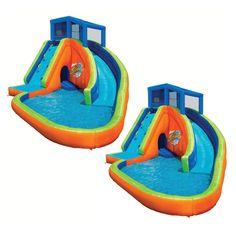 Banzai Falls Inflatable Water Park Kiddie Pool With Slides Cannons 2 Pack Inflatable Water Park Kiddie Pool Inflatable Pool