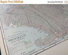 A personal favorite from my Etsy shop https://www.etsy.com/listing/485752433/on-sale-1917-antique-map-of-brooklyn