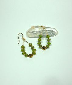 Jade Hoop Earrings with Gold Accents by AussenWolfDesigns on Etsy, $20.00