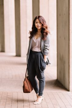 Grey neutrals with thrifted harem pants make a chic and comfortable office outfit