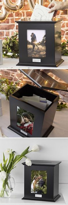 Use a wood photo box personalized with the bride and groom's name and wedding date and a favorite photo of the couple to hold gift cards, guest signatures, marriage advice notes or money gifts during the reception. Afterwards, it can be used as an attractive decoration in the newlyweds home for a life-long wedding keepsake. This card box can be ordered at http://myweddingreceptionideas.com/personalized_photo_gift_card_holder_box.asp