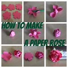 How to make a paper rose from a pansy punch...cut in between petals of first flower to help it fold up.