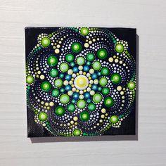 Original Small Mandala Painting on Canvas, Painting, Office and home ornament Henna art Gift Dotilism Dotart, Blue mandala