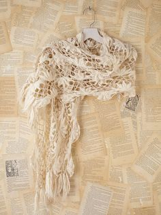 Free People Hairpin Crochet Scarf. From http://www.lyst.com/accessories/free-people-creme-vintage-crochet-scarf/