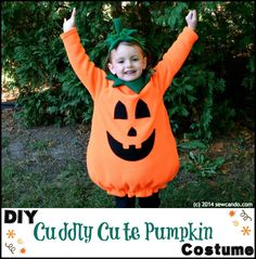 Sew Can Do: Make A Cuddle Cute Pumpkin Costume Without A Pattern! Full tutorial for a lined pumpkin costume, collar and stem headband. Costume Garçon, Halloween Costume Patterns, Pumpkin Halloween Costume, Toddler Halloween Costumes, Baby Halloween, Halloween Crafts, Halloween Ideas, Spider Costume, Costume Makeup
