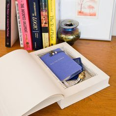 DIY Stash Book For All Your Secret Stuff: Smart for your dorm room or for just stashing important items you don't want others riffling through, head to your local resale shop for a used book to upcycle into something so much more.