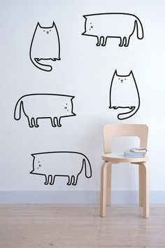 Cats Wall Decals Pack - Animals - Vinyl Stickers Graphics on Etsy, $12.50