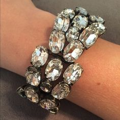 """J Crew Crystal Bracelet Covered in oversized crystals with a fold over clasp. Add some glamour to your OOTD! It is 1.25"""" wide and the diameter is 2.25"""". J. Crew Jewelry Bracelets"""