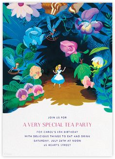 "Such a beautiful ""Welcome to Wonderland"" birthday party invitation by Paperless Post. Thse online Alice in Wonderland invitations for kids' birthdays come with easy-to-use design tools and RSVP tracking. View other Disney invitations on paperlesspost.com/disney."