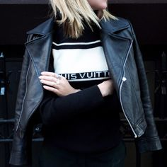 Blacked out today in #LouisVuitton + #SirTheLabel leather.. #Outfit #Style #LeatherJacket