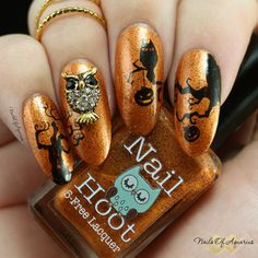 """hOWL"" an easy Halloween nail art design with polish from Nail Hoot and WiiNo Shop embellishments."