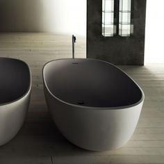 Piero Lissoni's Iceland Bathtub, Remodelista.  Beautiful alternative to the predictable white.