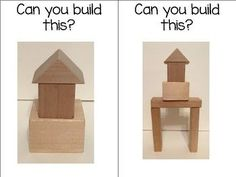 "FREE set of 12 printable block center cards. ""Can You Build This?"" - Children will have fun trying to build/recreate these designs, and can even create their own! You can snap pictures of your students'/children's creations and add them to your set :o) Laminate and attach these cards to key ring....hang the set in your block center at school (or simply enjoy them with your little ones at home)"