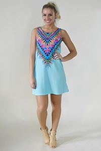 Tribal print sleeveless shift dress. Light Blue