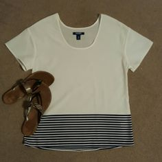 Short Sleeve Striped Shirt 100% Polyester   Only worn a few times   No stains (it is white)  Save even more with my Bundle Discount Old Navy Tops