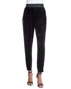 Velvet Slim-Fit Pants, Black, Size: 12 - Rebecca Taylor