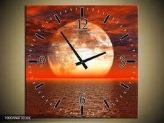 Schilderij met Klok Ondergaande Zon in Zee Rood