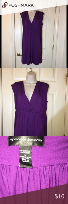 Purple Knit Casual Sundress Large Jermey Spenser Purple casual Sundress.  T-shirt knit.  Empire waist with deep v-neck.  Size large.  Dress is 39 inches long.   From Jeremy Spenser.  Excellent condition.   Important:   All items are freshly laundered as applicable prior to shipping (new items and shoes excluded).  Not all my items are from pet/smoke free homes.  Price is reduced to reflect this!   Thank you for looking! jeremy spenser Dresses