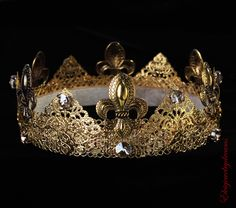 """""""Gold male crown, king crown, renaissance crown, game of throne costume, Fleur-de-lis medieval crown, dolce crown mens game of throne costume""""Perfect for everyo"""