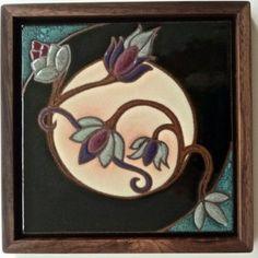 Framed ceramic art tile of art nouveau styled flowers by Bosetti Art Tile. Antique Tiles, Vintage Tile, Antique Art, Motifs Art Nouveau, Azulejos Art Nouveau, Art Nouveau Tiles, Art Nouveau Design, Craftsman Tile, Pottery Sculpture