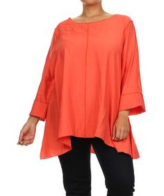 Love this Orange Three-Quarter Sleeve Top - Plus by Come N See on #zulily! #zulilyfinds