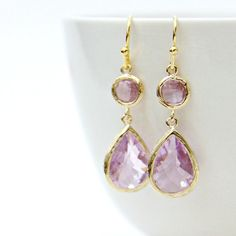 Lush Lavender Faceted Glass Two Stone Drop by LePetitRuban on Etsy, $34.00