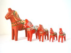 Vintage Dala Horse Set of 5  Instant Collection