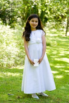Lace First Holy Communion Dress - White Ankle Length A- line with Sleeves - Maddie 7 8 9 Years - Beautiful First Communion Dresses - Buy at a Shiop