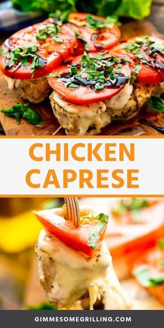 Chicken Caprese is a healthy dinner recipe. Seasoned grilled chicken breast topped with fresh mozzarella, tomato, basil and balsamic reduction. Caprese Chicken, Grilled Chicken Recipes, Healthy Chicken Recipes, Recipe Chicken, Healthy Dinner Recipes, Delicious Recipes, Butter Chicken, Garlic Butter, Turkey Recipes