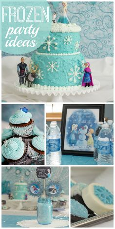 Frozen parties are so popular right now for girl birthdays and this one is just lovely! Disney Frozen Party, Frozen Birthday Party, 4th Birthday Parties, Birthday Fun, Birthday Ideas, Party Fiesta, Festa Party, Rosalie, Frozen Cake