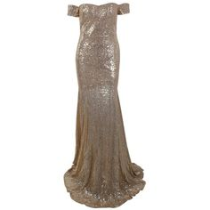 Honey couture leila gold sequin off shoulder evening gown dress ($289) ❤ liked on Polyvore featuring dresses, sexy gold dress, sexy off shoulder dress, sexy form fitting dresses, brown dresses and sexy brown dress