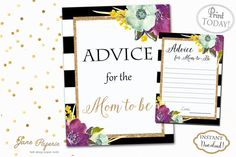 Every new mom needs an advice for family and friends, so add these Advice For Mom To Be printable and a sign to your baby shower. You can set them up by the gift table so every guest can see them and fill them out with a piece of advice.  INSTANT DOWNLOAD - Advice for Mom to Be Card and Sign - Black Stripe Glitter Purple watercolor Florals Gender Neutral. Find more coordinating printables at JanePaperie: https://www.etsy.com/shop/JanePaperie