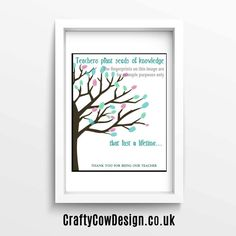 Teachers plant seeds of knowledge that last a lifetime personalized teacher gift quote printable digital image - 8x10 INSTANT DOWNLOAD